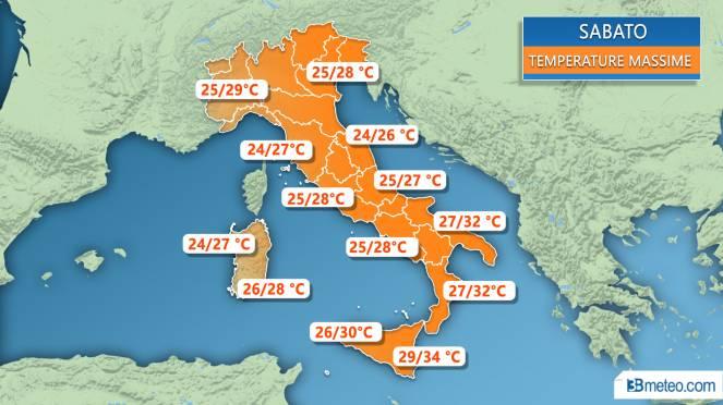 Buongiorno e #buonsabato Ecco le previsioni #meteo per oggi con massim...