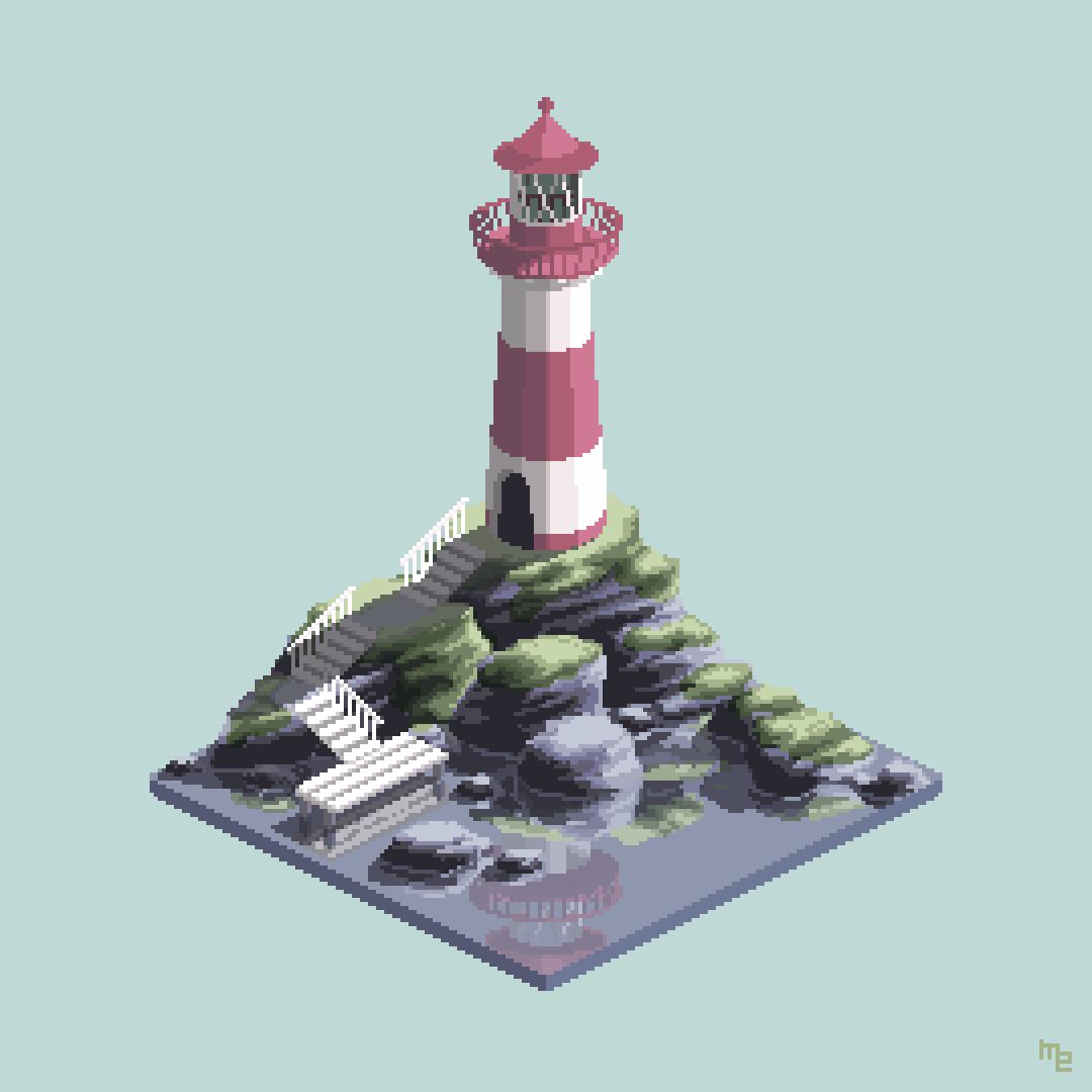 Lighthouse on the Rocks. #isometric_island #pixel_dailies @Pixel_Dailies #pixelart #gamedev #indiedev #digitalart #art<br>http://pic.twitter.com/UdZKL2Fr7p