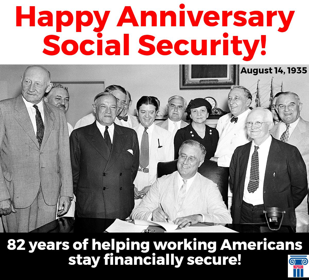 Happy Anniversary to #SocialSecurity! For 82 years, the program has provided financial security for all working Americans. #SocSec82 https://t.co/Aku8f3ak34