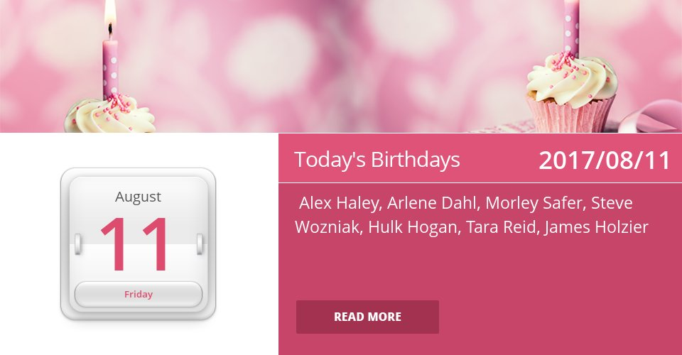 Famous Birthdays for Aug 11, 2017 => See more: https://t.co/mFGmWTvXS6 #HappyBirthday https://t.co/597dCQMkLK