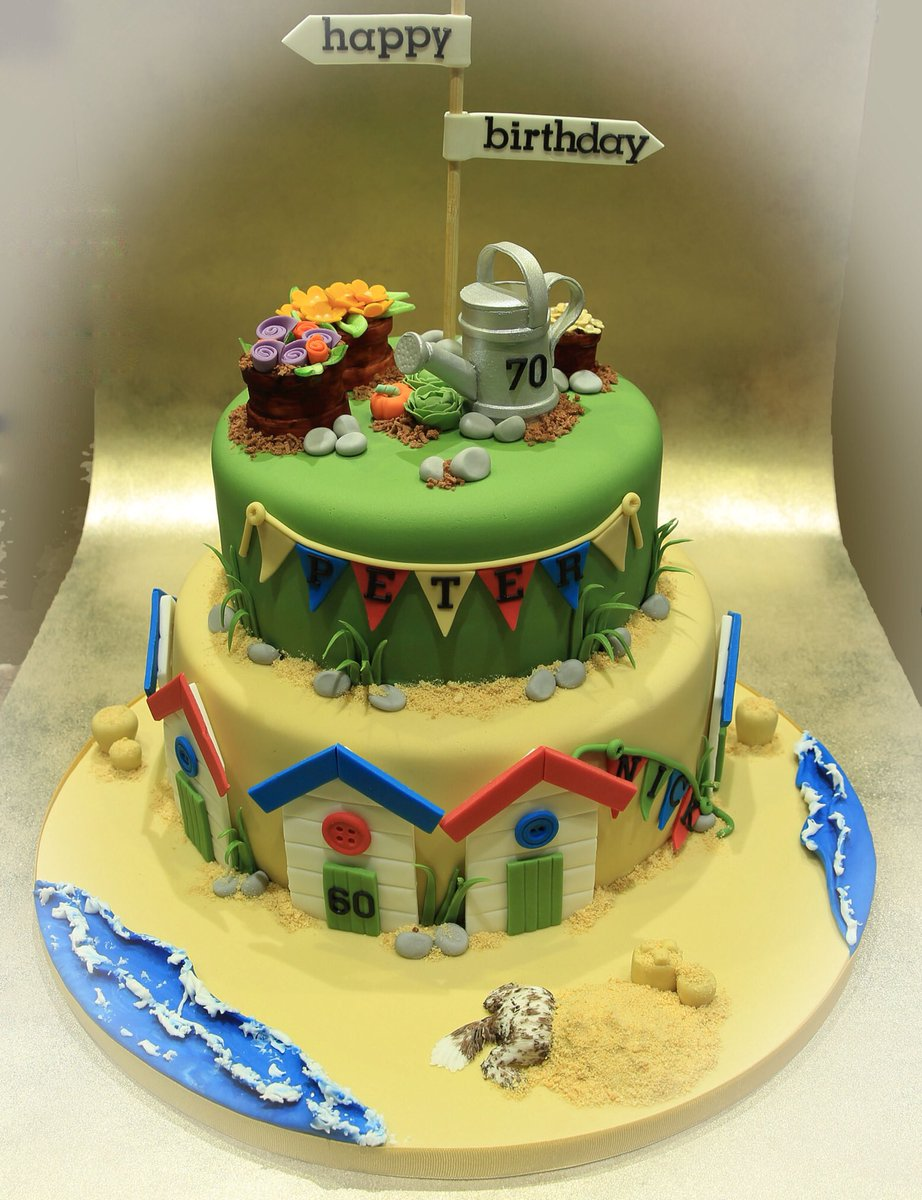 Anita B Cakes On Twitter Yesterdays Joint Birthday Cake For Two Men 1 Who Loves Gardening And The Other Beach HandmadeHour