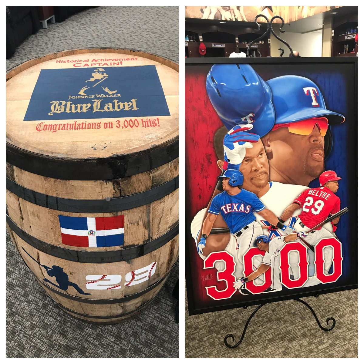 Beltre's 3000 gifts from his teammates. https://t.co/A7Mhx8DJNn