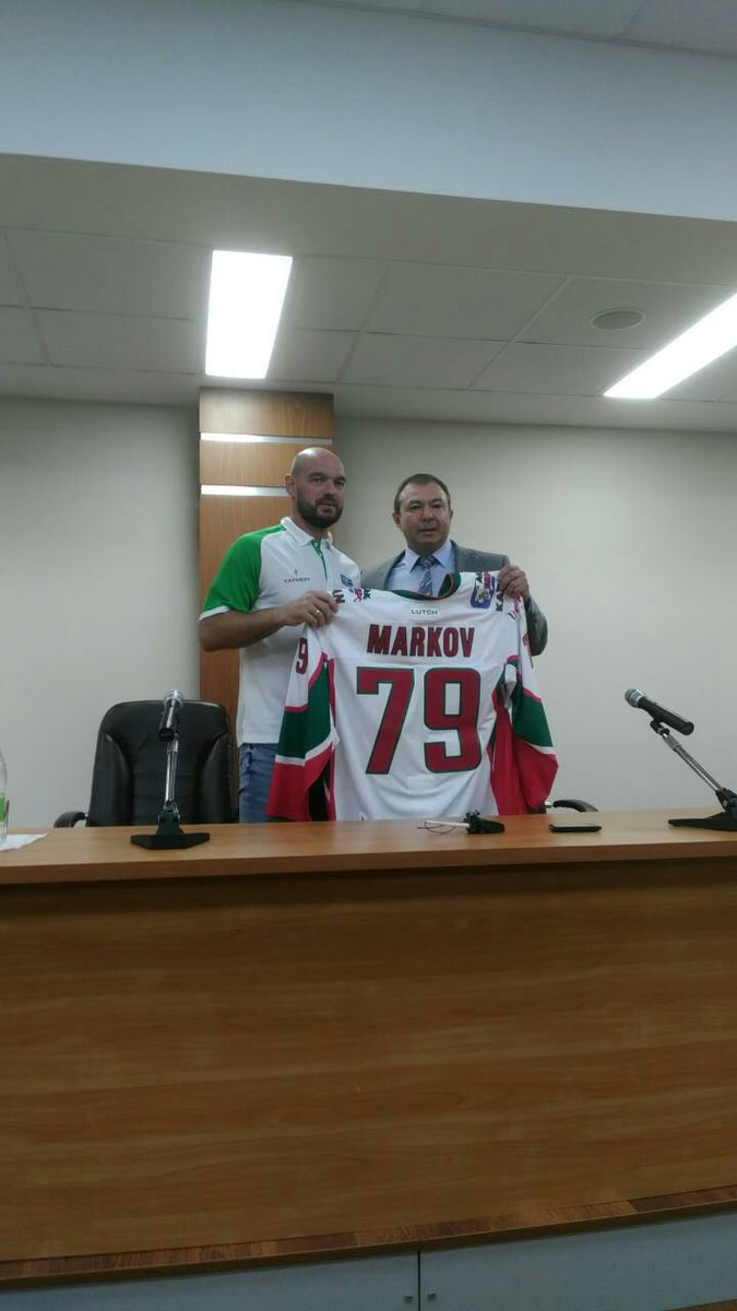 Andrei Markov and his new Ak Bars jersey. Now he's vert-blanc-rouge Ha...
