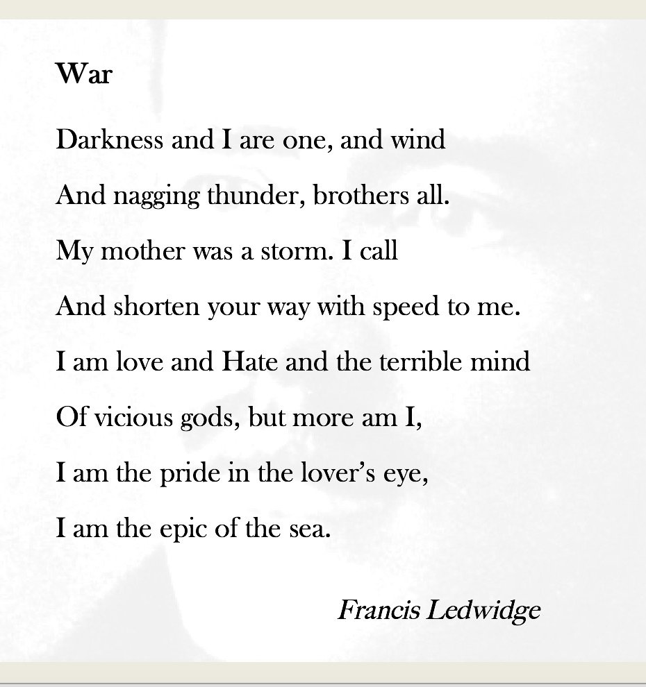 ww1 poetry World war poetry: background, annotation and analysis, multi-media project  this mini-unit (@ 3 days) is very student-centric not only do they choose which.