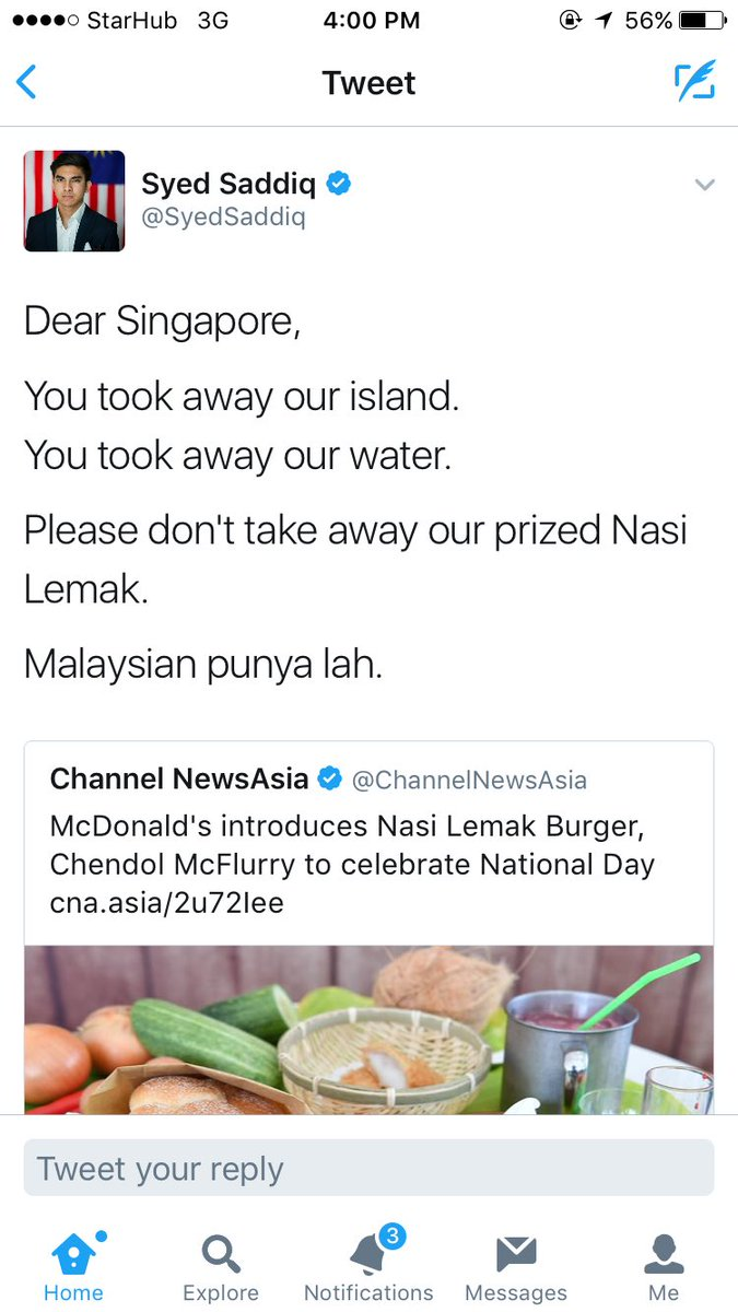 I don't see why this has to be a Singapore VS Malaysia thing