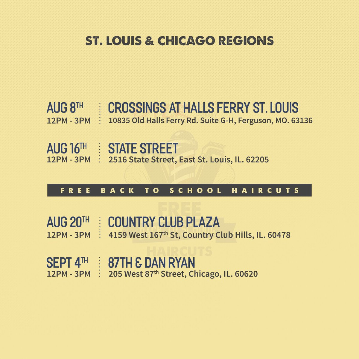 #CHI & #STLouis Bring the kids by #DTLR for a #FREE haircut | 4 Locations | 4 Dates #Daretoliveright #Back2School #Haircuts #Community #Kids https://t.co/U6G0Cl1Mp2