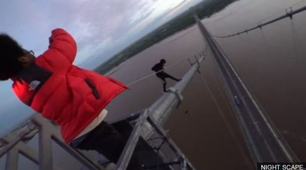 Two men scale the Humber Bridge a day before tighter security measures are installed following a previous climb https://t.co/6hth0Xkvj5