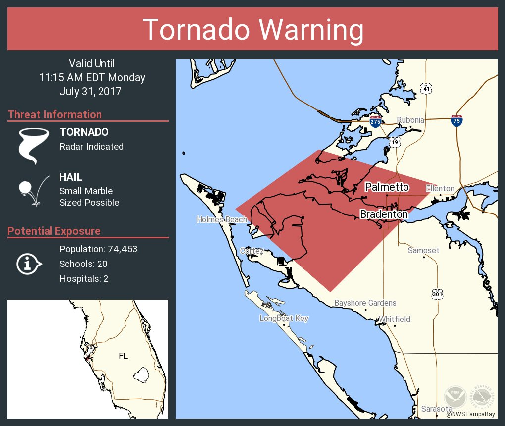 NWS Tampa Bay On Twitter Tornado Warning Including Bradenton FL - Florida map ellenton