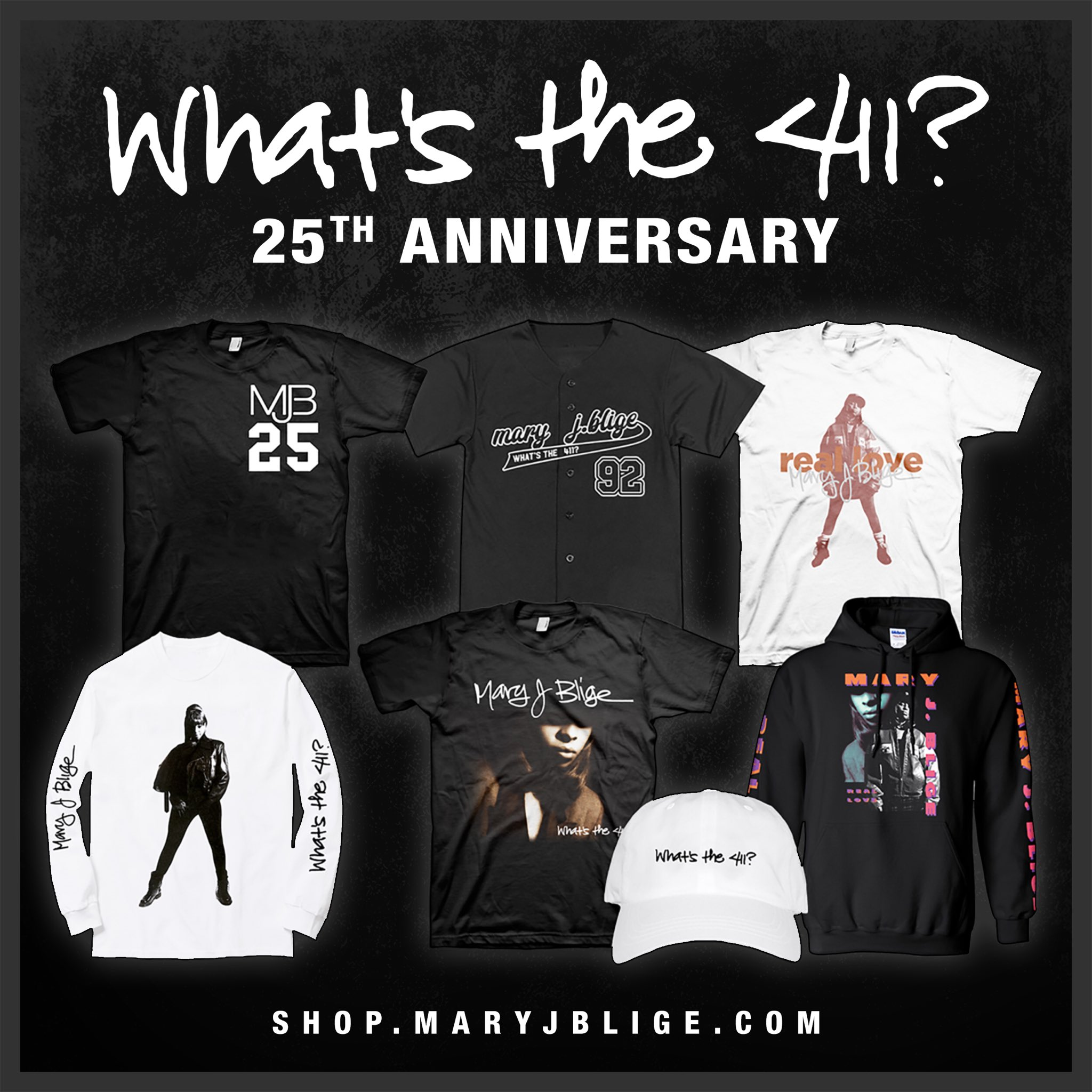 It's a celebration!! Get your #WhatsThe411 limited edition merchandise at https://t.co/ed1MYOmLEJ #MJB25 https://t.co/BuvfgN4tn3