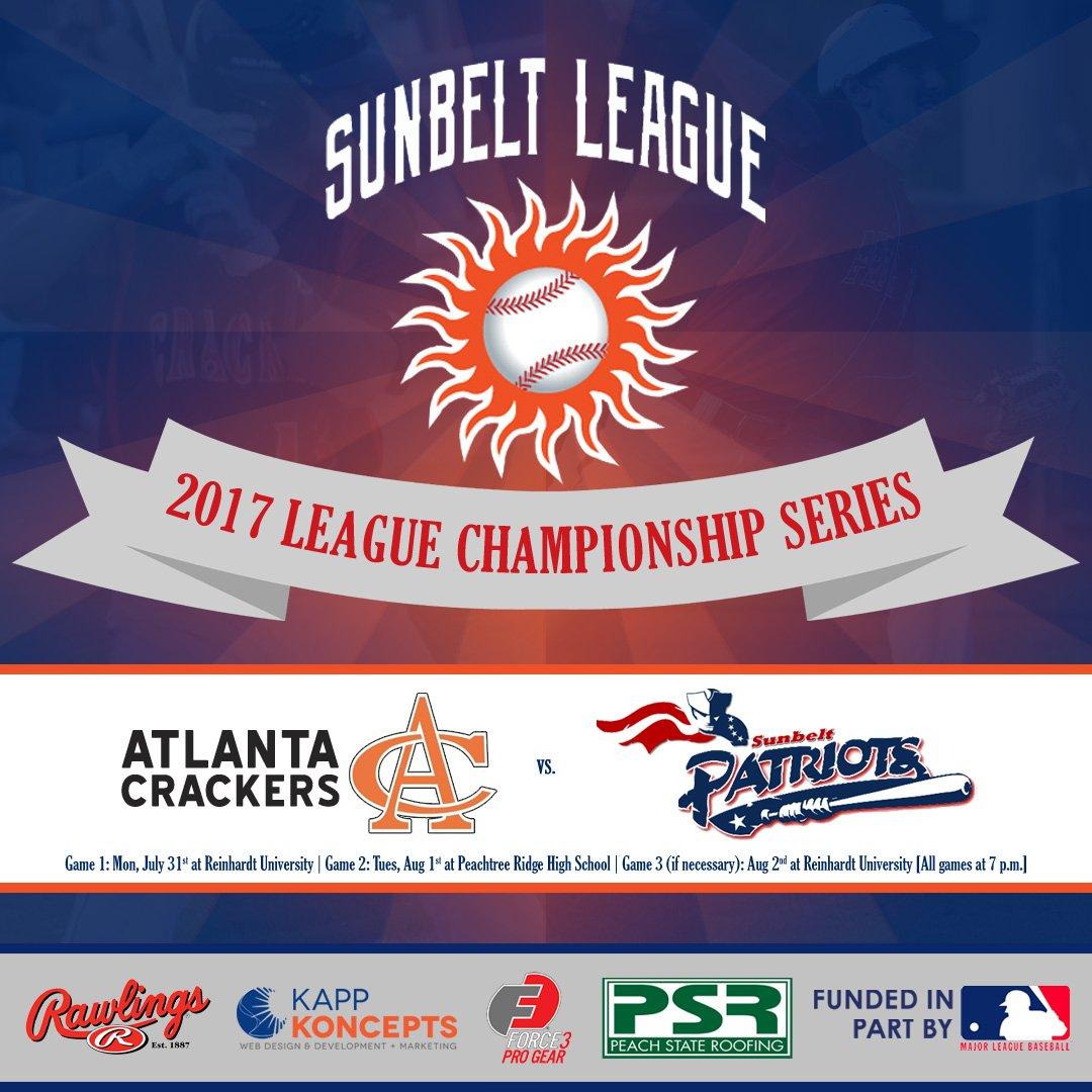 League Championship Series Between @CrackerBaseball (19 7) And @SunbeltPats  (20 7) Starts Tonight At @Reinhardt_Univ. First Pitch At  7:00.pic.twitter.com/ ...