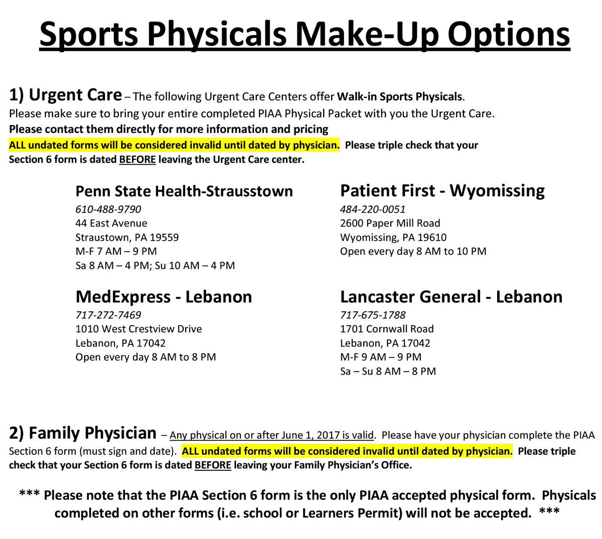 "sports physical form pennsylvania  TASD Sports Medicine on Twitter: ""Still need to get your 16 ..."