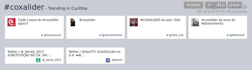 #coxalider é tendência em #Curitiba  https://t.co/Oy4Ba2nOSH https://t.co/O2jDB6SMW7