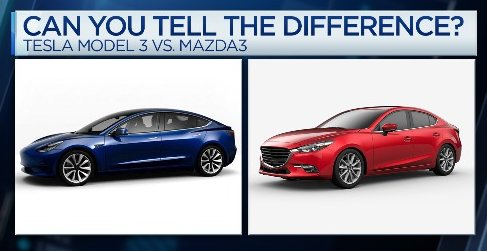 separated at birth can you tell which car is the mazda3 vs tesla model 3. Black Bedroom Furniture Sets. Home Design Ideas