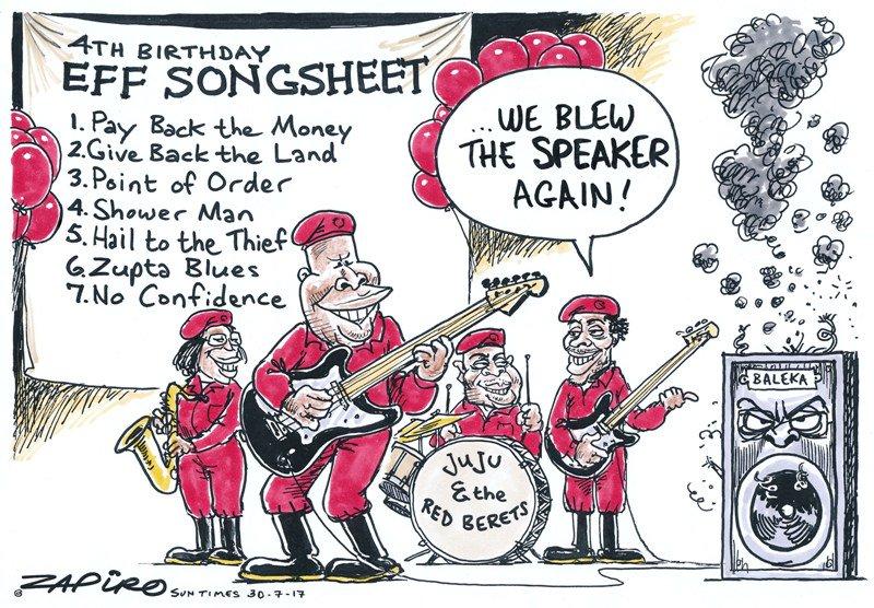 Zapiro's cartoon @SundayTimesZA (30 July 2017) on EFF's 4th Anniversary celebrations - https://t.co/WY49Rufjdm https://t.co/HWM3w8URag
