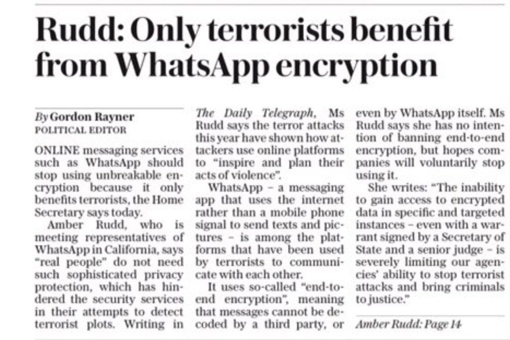Another day another ridiculous statement about encryption from Amber Rudd...#encryption #security https://t.co/qUwzl4uBL9