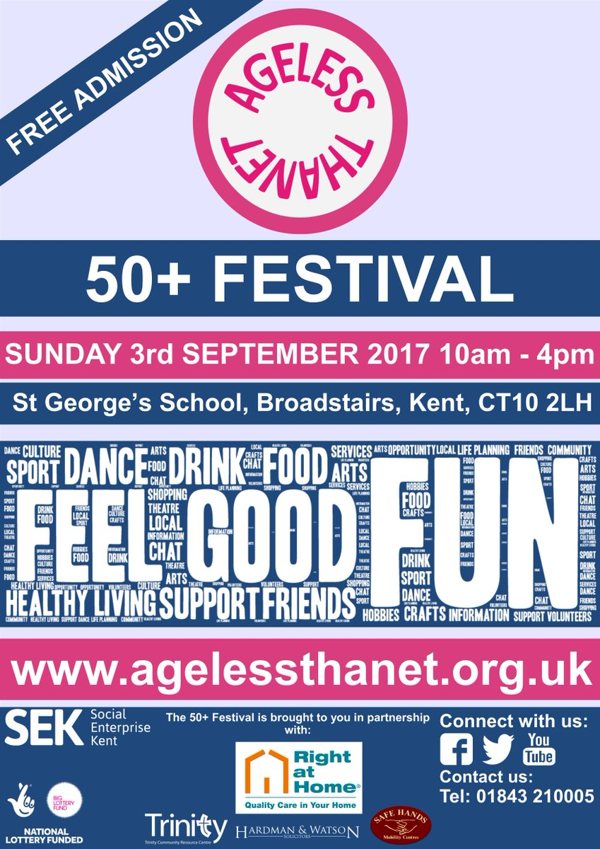 Come along to our 50+ Festival on Sunday 3rd September. It promises to be a fun-filled day! #Thanet https://t.co/NifVOiwMTY
