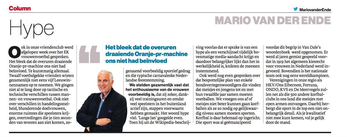 Hij was arbiter maar Mario van der Ende heeft nu een column in het Haagse AD