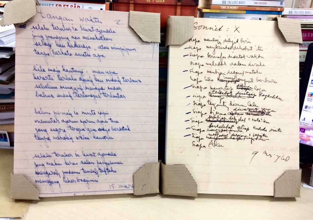"sastra gpu on Twitter: ""Lukisan manuskrip puisi dari buku Hujan ..."