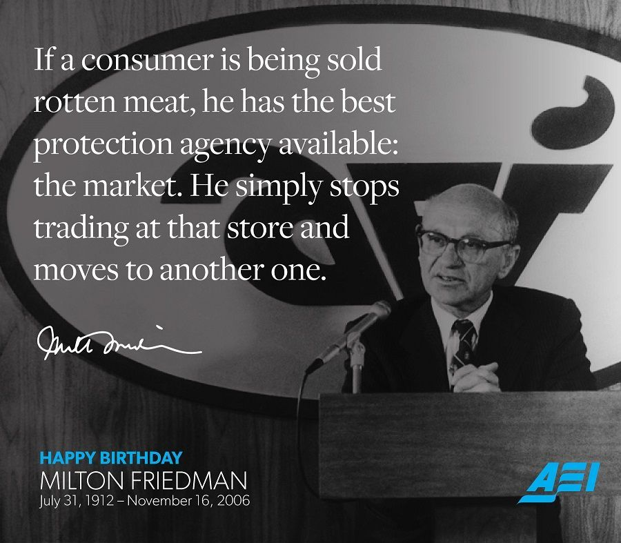 Milton Friedman Quotes | Aei On Twitter Here Are 20 Of Mark J Perry S Favorite Milton