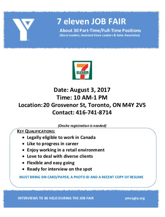 Youthto On Twitter Hiring Join Ymcagta For The 7eleven Job Fair