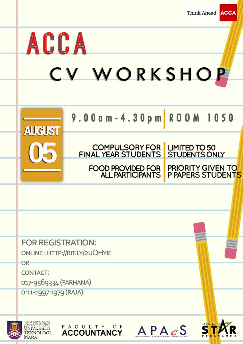 acca cv workshop is back its on this saturday compulsory for final year students seats are limited to 50 students only httpstcoq9amoklxpw - Acca Cv