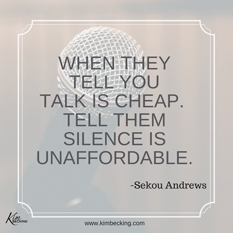 Use your voice.  Make an impact.  Be #VOICEFUL.   And when they tell you talk it cheap, tell them silence is unaffordable. @sekouandrews<br>http://pic.twitter.com/2uHZthNnV2