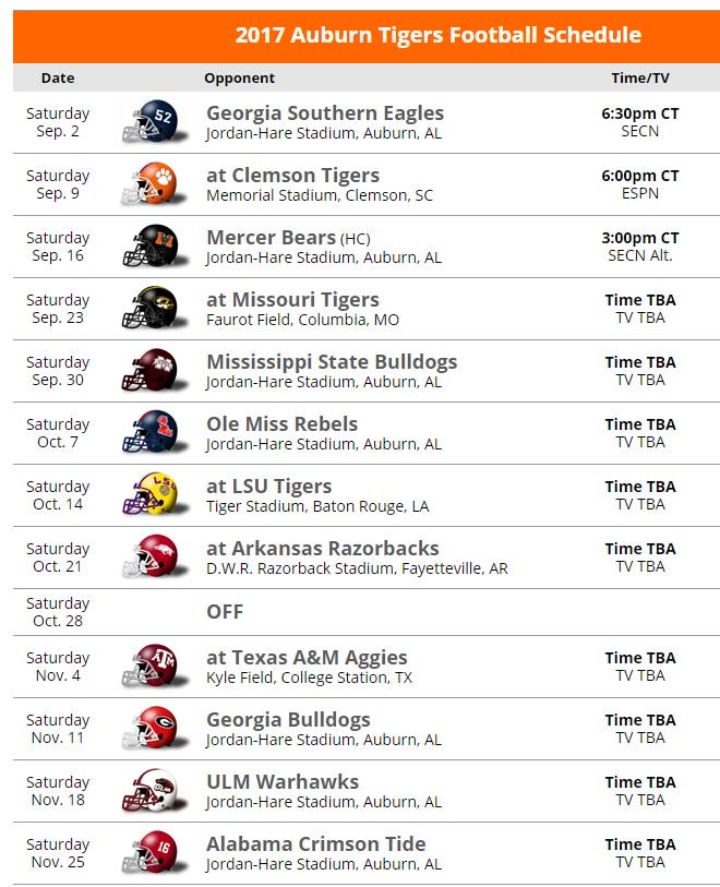 Sec Country On Twitter 2017 Auburn Football Schedule Record
