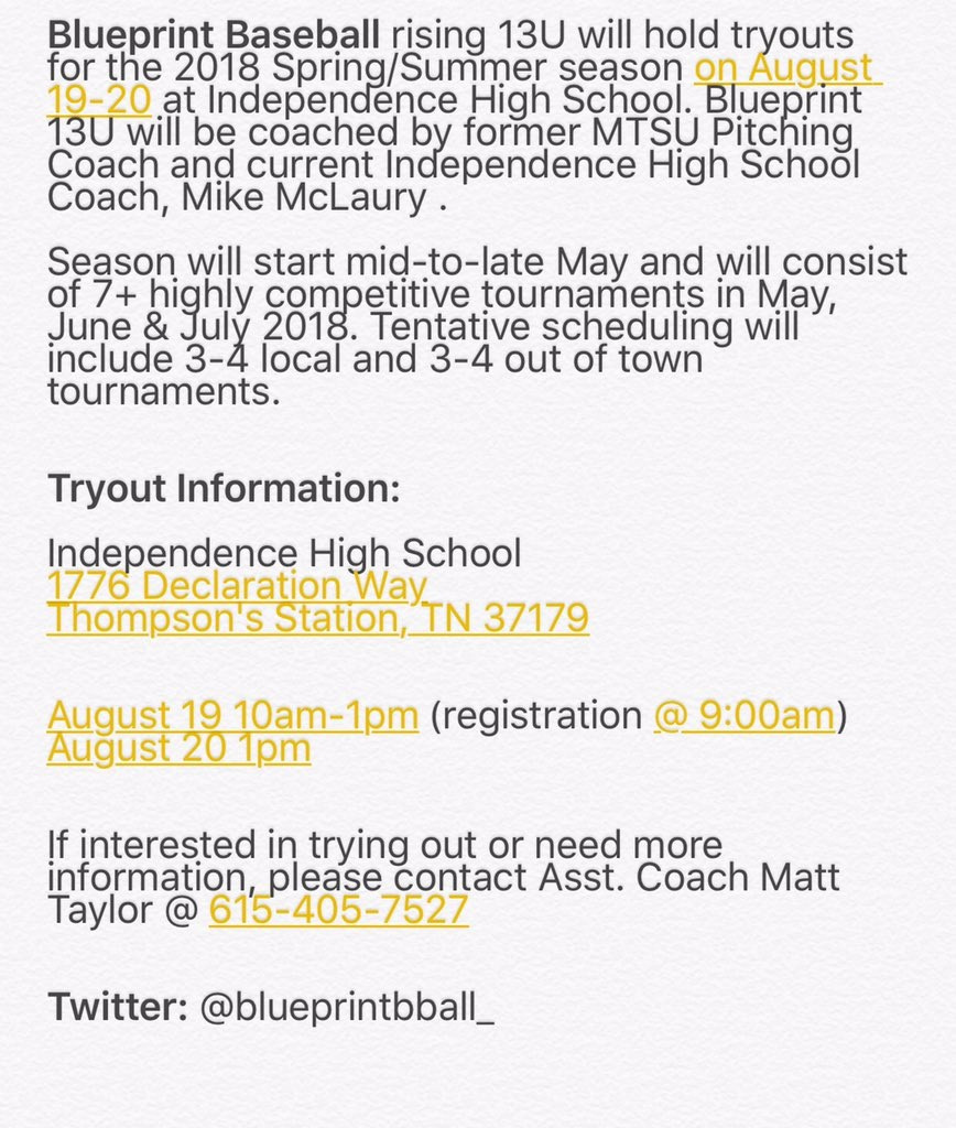 Blueprint baseball on twitter rising 13u tryout info malvernweather Gallery