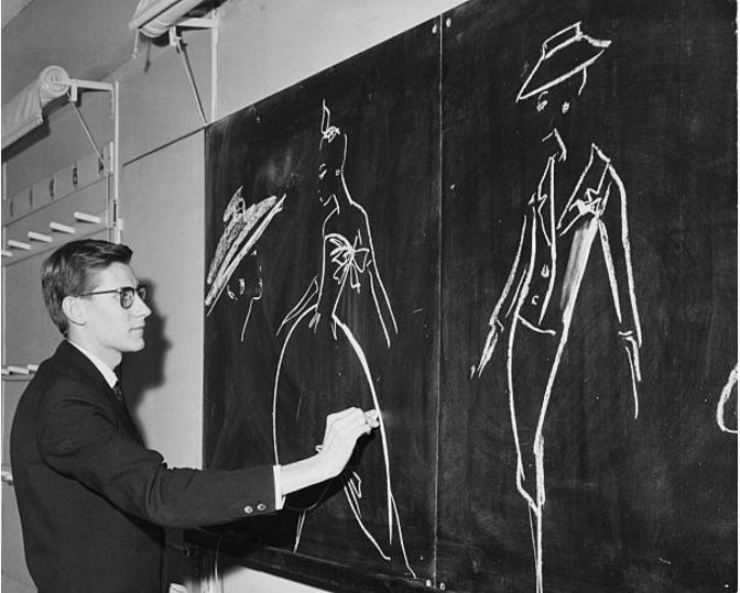 Happy birthday Yves Saint Laurent. Working on new designs at the House of Dior Popperfoto, 1960