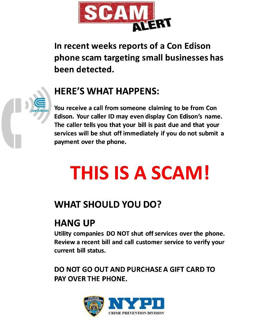 Nypd 10th precinct on twitter its a scam companies would never nypd 10th precinct on twitter its a scam companies would never ask you to pay a bill with a gift card safetytipoftheday stayalert colourmoves