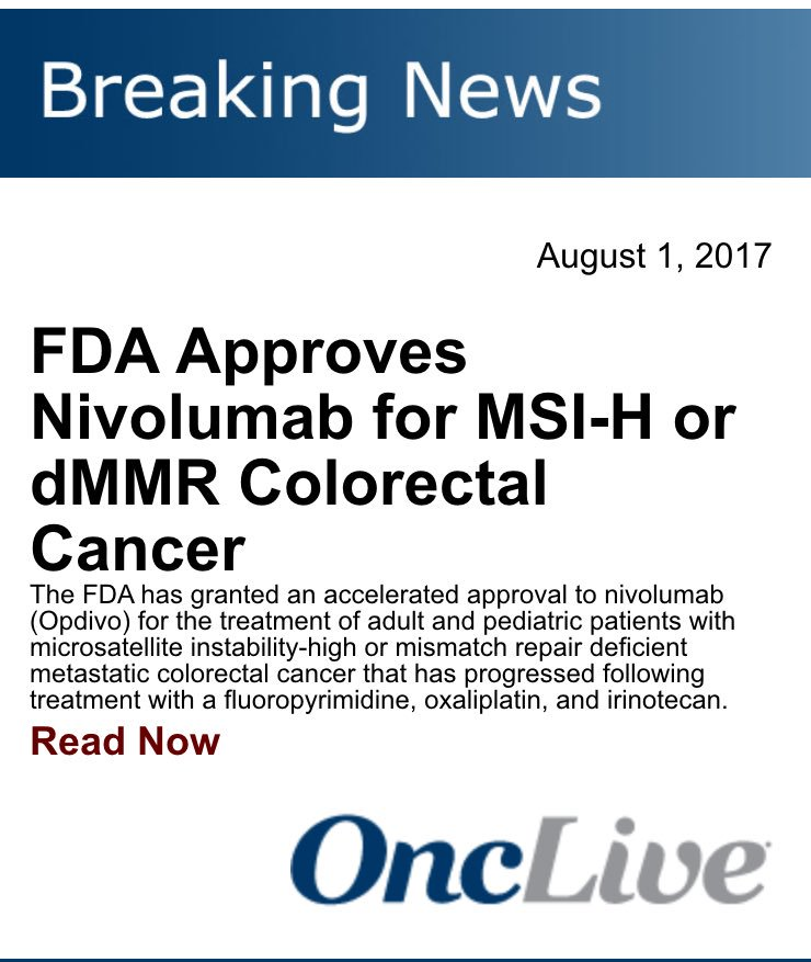 Richard Dunne Md On Twitter Nivolumab Joins The Msi High Party Immunotherapy Immunoonc Crcsm Coloncancer Onclive