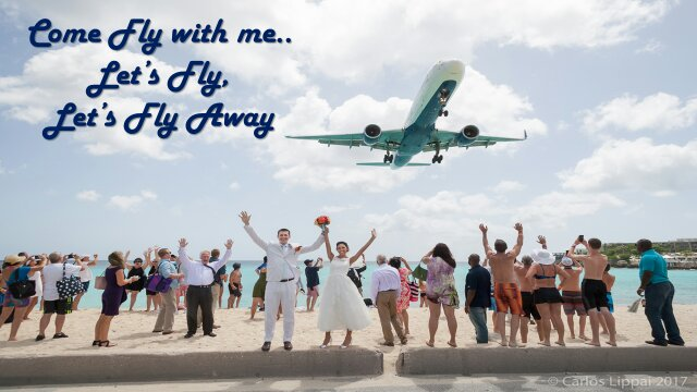Come fly to Alegria boutique hotel to have your wedding in Paradise! #love #wedding #newlyweds #sxm #airplane #marriage #weddingphoto