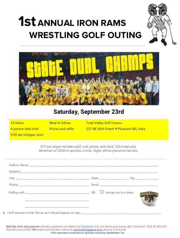 @sepwrestling & @IronRams hosting 1st annual golf outing Sept 23rd @toadvalleygolf dust off those clubs & get 3 buddies. Sign up today https://t.co/c6ByYHi2FD