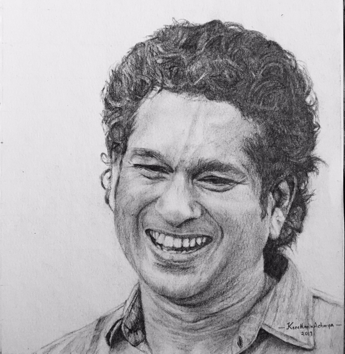Keerthan sketches on twitter pencil sketch of sachin rt graphite