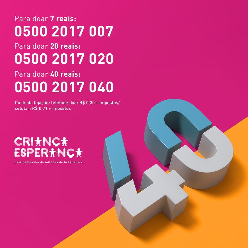 Resultado de imagem para telefones doação criança esperança 2017