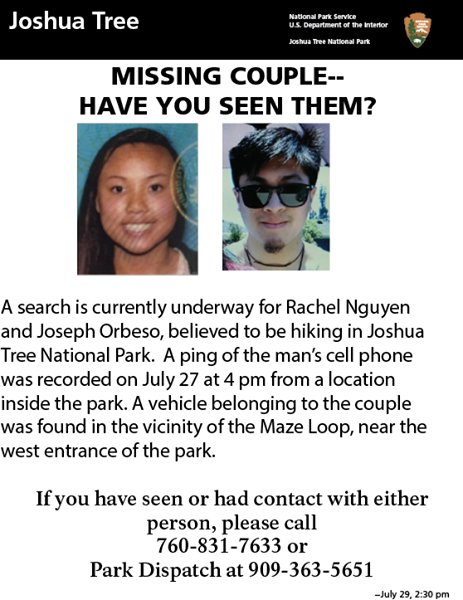 SpecialAgentNPS on Twitter JoshuaTreeNPS Updated missing – Missing Person Flyer