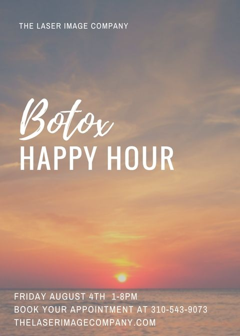 #Botox #Happy Hour on Friday August 4th at The Laser Image Company  Call to book 310-543-9073 #SkinTightening #Botox  http:// buff.ly/2uI0bou  &nbsp;  <br>http://pic.twitter.com/HZjG3oemlW