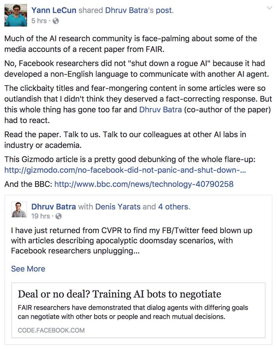 no facebook researchers did not shut down a rogue ai http gizmodo com no facebook did not panic and shut down an ai program 1797414922