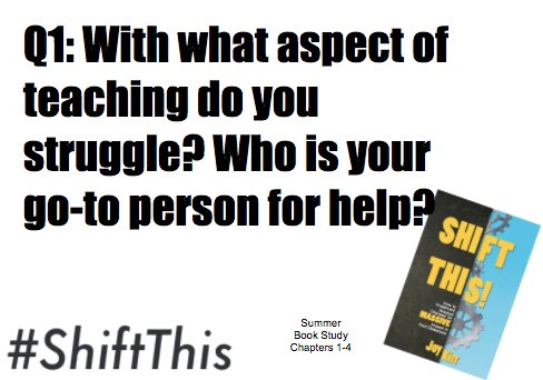 Q1: With what aspect of teaching do you struggle? Who is your go-to person for help? #ShiftThis https://t.co/7RSdUv0RvN