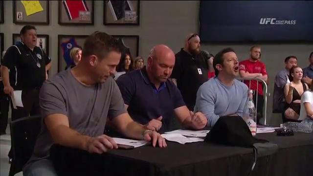Check out the reaction from @DanaWhite, @SeanShelby & @Mickmaynard2!   Spectacular KO by @JMarquezMMA! #ContenderSeries