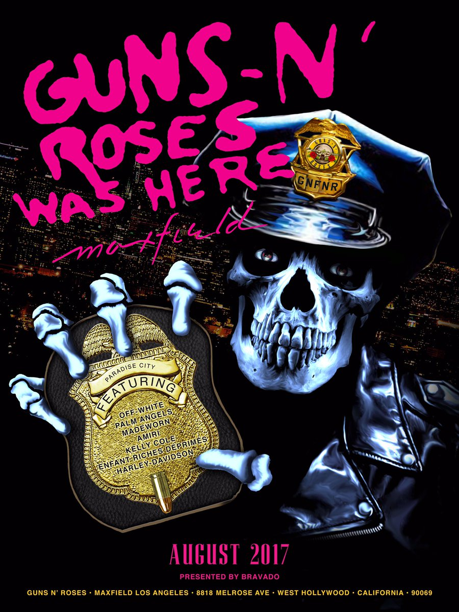 guns n 39 roses on twitter guns n 39 roses pop up shop store opens aug 11th at maxfield in la. Black Bedroom Furniture Sets. Home Design Ideas