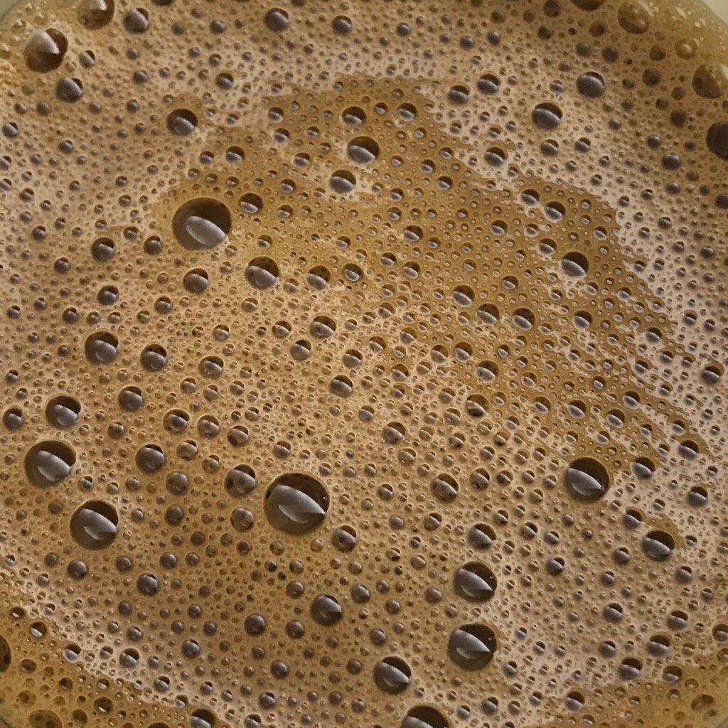 """One of the metrics for good coffee is """"number of bubbles per square inch"""""""