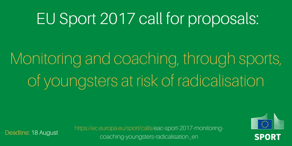 2 DAYS LEFT to apply 4 #EUSport call for proposals for #sport projects that help tackle radicalisation of young ppl  https:// ec.europa.eu/sport/calls/ea c-sport-2017-monitoring-coaching-youngsters-radicalisation_en &nbsp; … <br>http://pic.twitter.com/f6YQFof57h