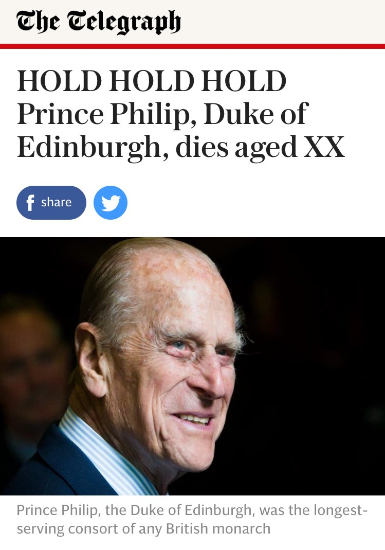 The Telegraph's accidentally published Prince Philip's obituary...