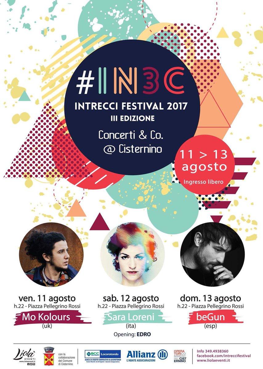 #IN3C festival 2017: fra Elettronica, World music e canzone d'autore 11/12/13 Agosto #IntrecciFestival #LiolàEventi #Cisternino #Puglia https://t.co/41EcQBVVyW