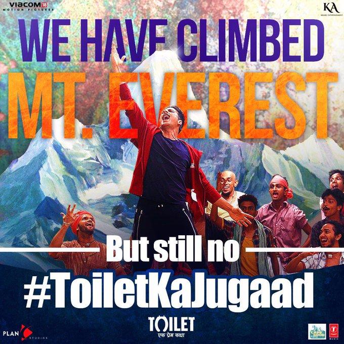 Hum Everest ki choti tak pahunch gaye hai, lekin hamari soch abhi bhi itni chhoti kyun? #ToiletKaJugaad song coming soon. @ToiletTheFilm https://t.co/0eKB3Siaag