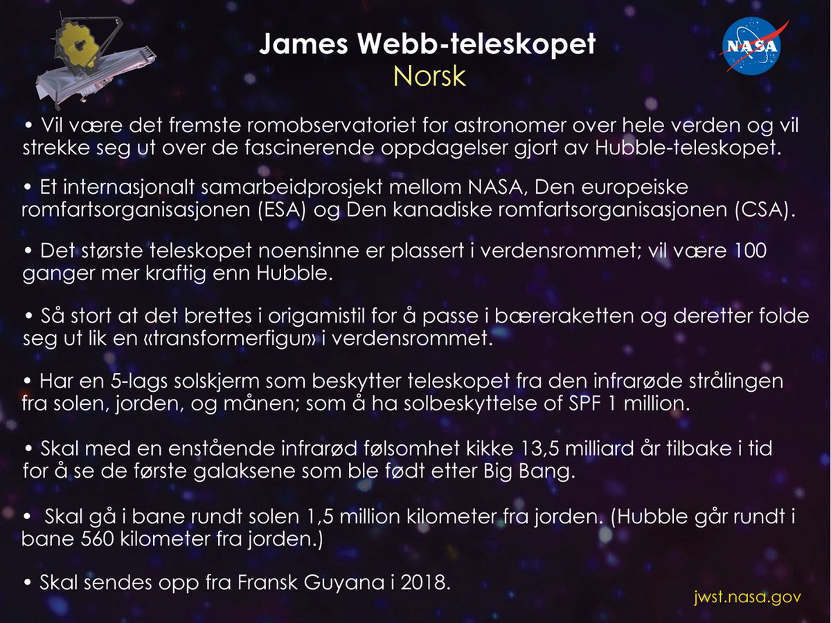 Nasa Webb Telescope On Twitter Facts About At Nasawebb In Many