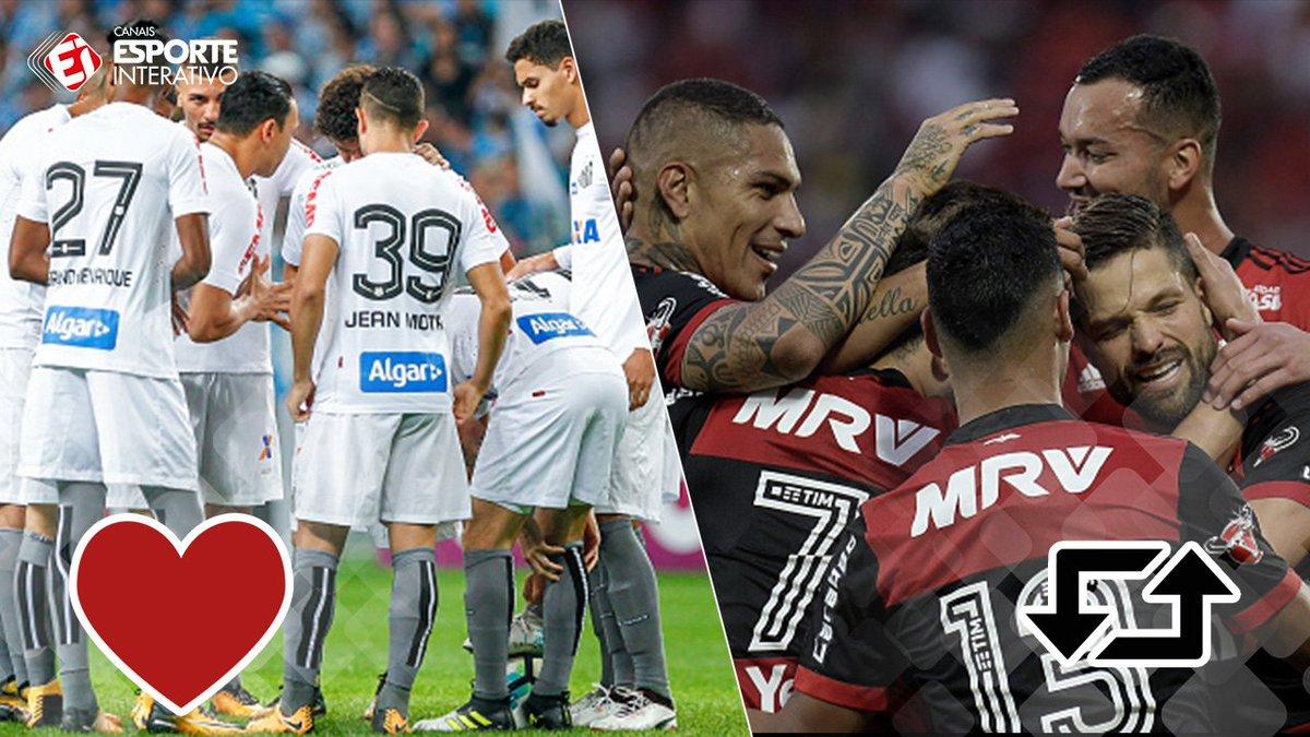 Hoje tem o Santos contra o Flamengo, pelo Campeonato Brasileiro! Chegou sua vez de dar sua opinião, quem ganha hoje? RT= Mengão/ / ♥= Peixão