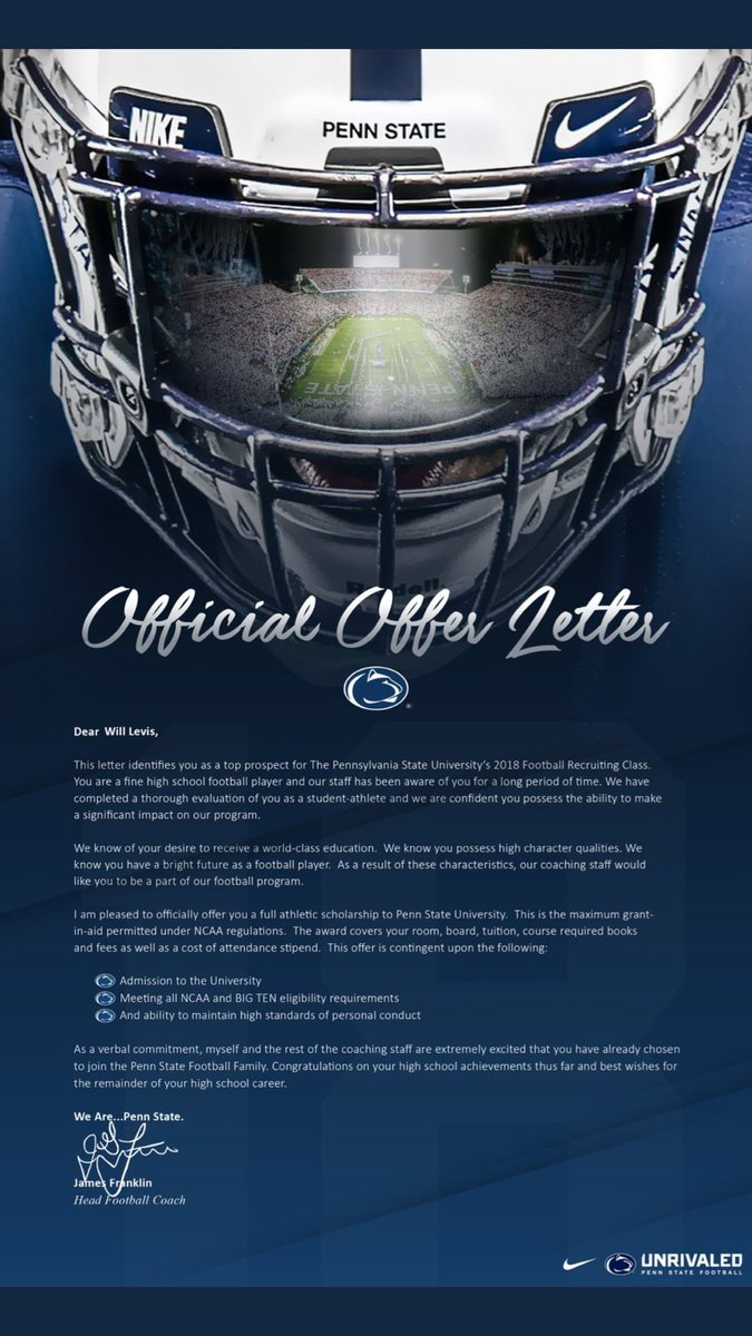 does pennstate weare have the best official offer letter in the