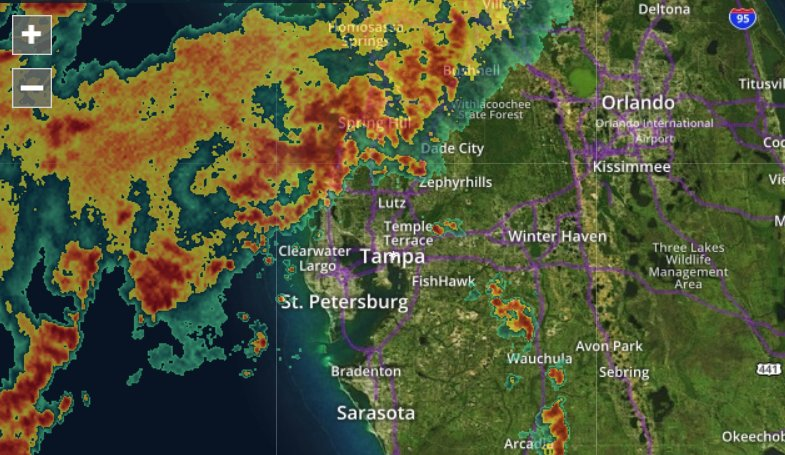 Whoa, lots of rain just arriving for tampa bay  follow our
